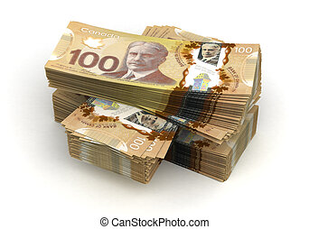 dollar, stapel, canadees