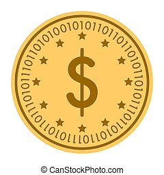 Dollar Stars golden digital coin icon. Vector style. gold yellow flat coin cryptocurrency symbol. isolated on white.