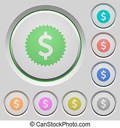 Dollar sticker push buttons