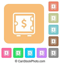 Dollar strong box rounded square flat icons