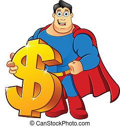 dollar, superhero, -, tenue, signe