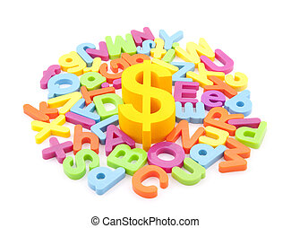 Dollar symbol and colorful letters on white background