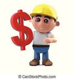 dollar- symbol, arbeiter, uns, baugewerbe, hat, 3d