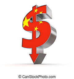 Dollar Symbol Arrow Down - Chinese Flag Texture
