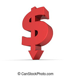 Dollar Symbol Arrow Down - Shiny Red