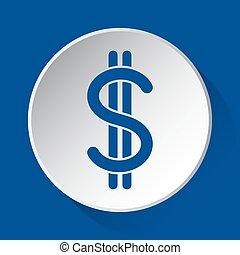 dollar symbol - blue icon on white button