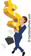 Dollar Symbol - Cartoon illustration of a businessman...