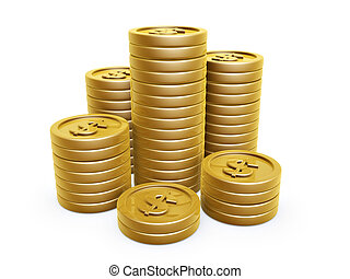 dollar symbol gold coins pile on white background