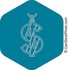 Dollar symbol icon, outline style