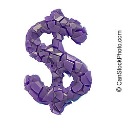 Dollar symbol in a 3D illustration made of broken plastic purple color isolated on a white