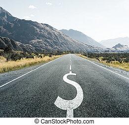 Dollar symbol on endless road, financial background.