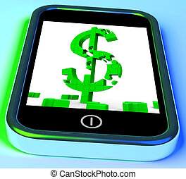Dollar Symbol On Smartphone Shows United Stated Earnings