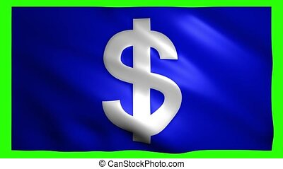 Dollar symbol on the flag on green screen for chroma key