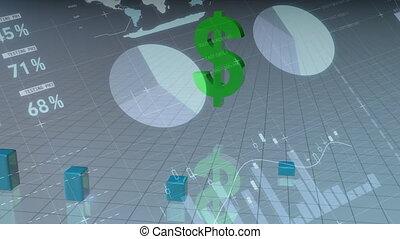 Dollar symbol rotating bar chart growing
