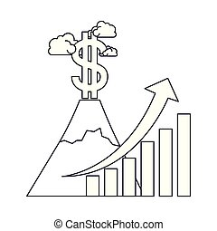 dollar symbol with bar graph isolated icon