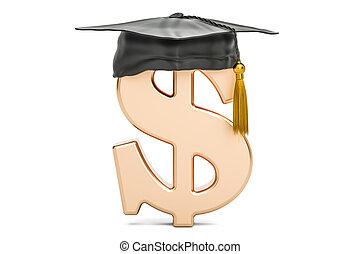 Dollar symbol with graduation cap, 3D rendering