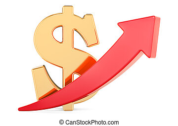 Dollar symbol with red arrow up, 3D rendering