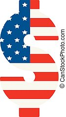 dollar symbol with USA flag background - dollar symbol with...