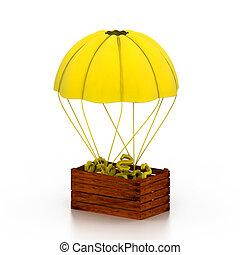 dollar, symboles, dans, parachute