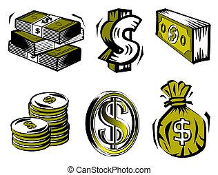 Dollar symbols including coins, note bundles, dollar bag and text symbol