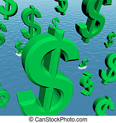 Dollar Symbols Falling In The Ocean Showing Depression Recession And Economic Downturns