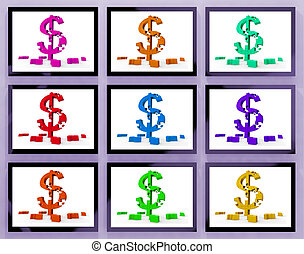 Dollar Symbols On Monitors Showing American Prosperity