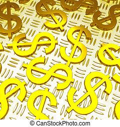 Dollar Symbols Over The Floor Showing American Prosperity