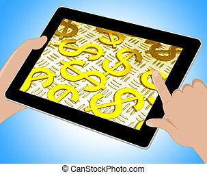 Dollar Symbols Over The Floor Showing American Prosperity Tablet