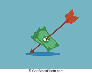 dollar target hit with arrow  vector illustration.