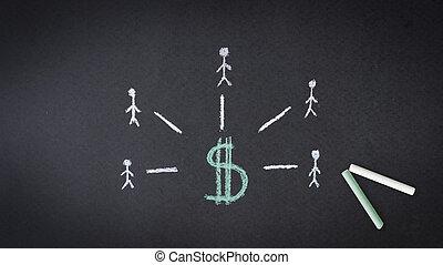 dollar tegn, kridt, illustration