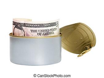 dollar tinned isolated on white background