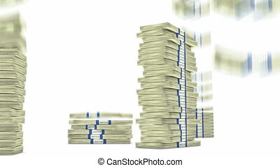dollar, tomber, piles, paquets, 100