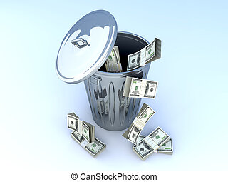 Dollar Trash	 - Moneytrash can. 3D rendered illustration.