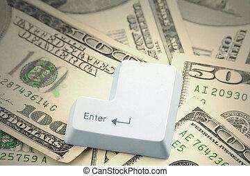 dollar, und, a, enter-taste
