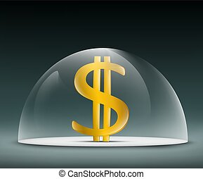 Dollar under a glass dome