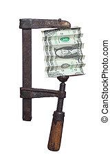 dollar under pressure in clamp