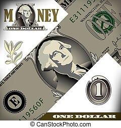 dollar, une, note, éléments