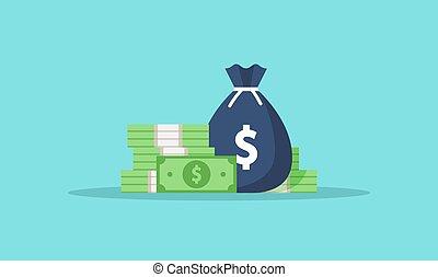 dollar., vektor, geld., bargeld