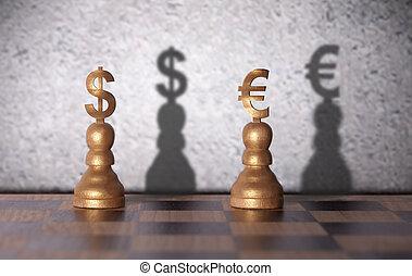 Dollar versus euro concept
