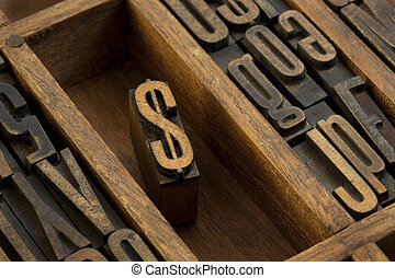 dollar - vintage letterpress wooden type