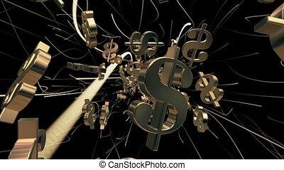 dollar, voler, noir, signes