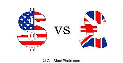 dollar vs pound - usa dollar versus british pound money ...