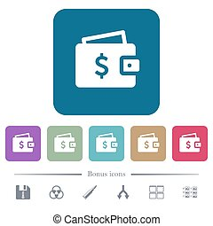 Dollar wallet flat icons on color rounded square backgrounds