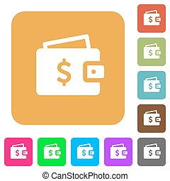 Dollar wallet rounded square flat icons