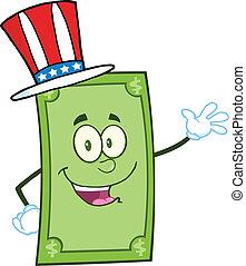 Dollar With American Patriotic Hat