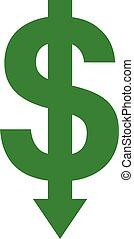 Dollar with arrow down