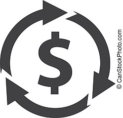 Dollar with arrows icon in black on a white background. Vector illustration