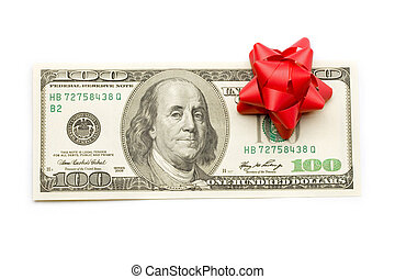 Dollar with holidays bow isolated on white