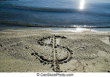 Dollar written in the sand