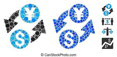 Dollar Yen Exchange Composition Icon of Round Dots